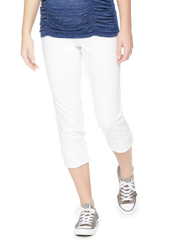 Secret Fit Belly Highline Crop Maternity Jeans, White