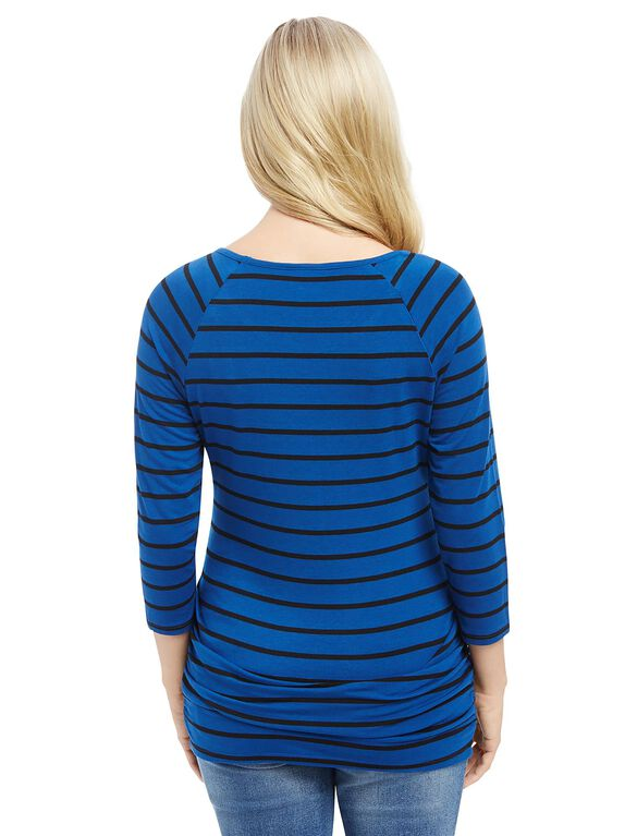 Ruched Maternity Top, Blue Stripe