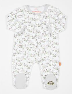 Tortoise & Hare Baby Footie, Grey Trim