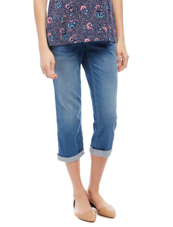 Secret Fit Belly Straight Leg Maternity Crop Jeans, Medium Wash