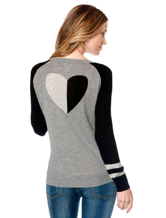 Back Interest Maternity Sweater, Gray