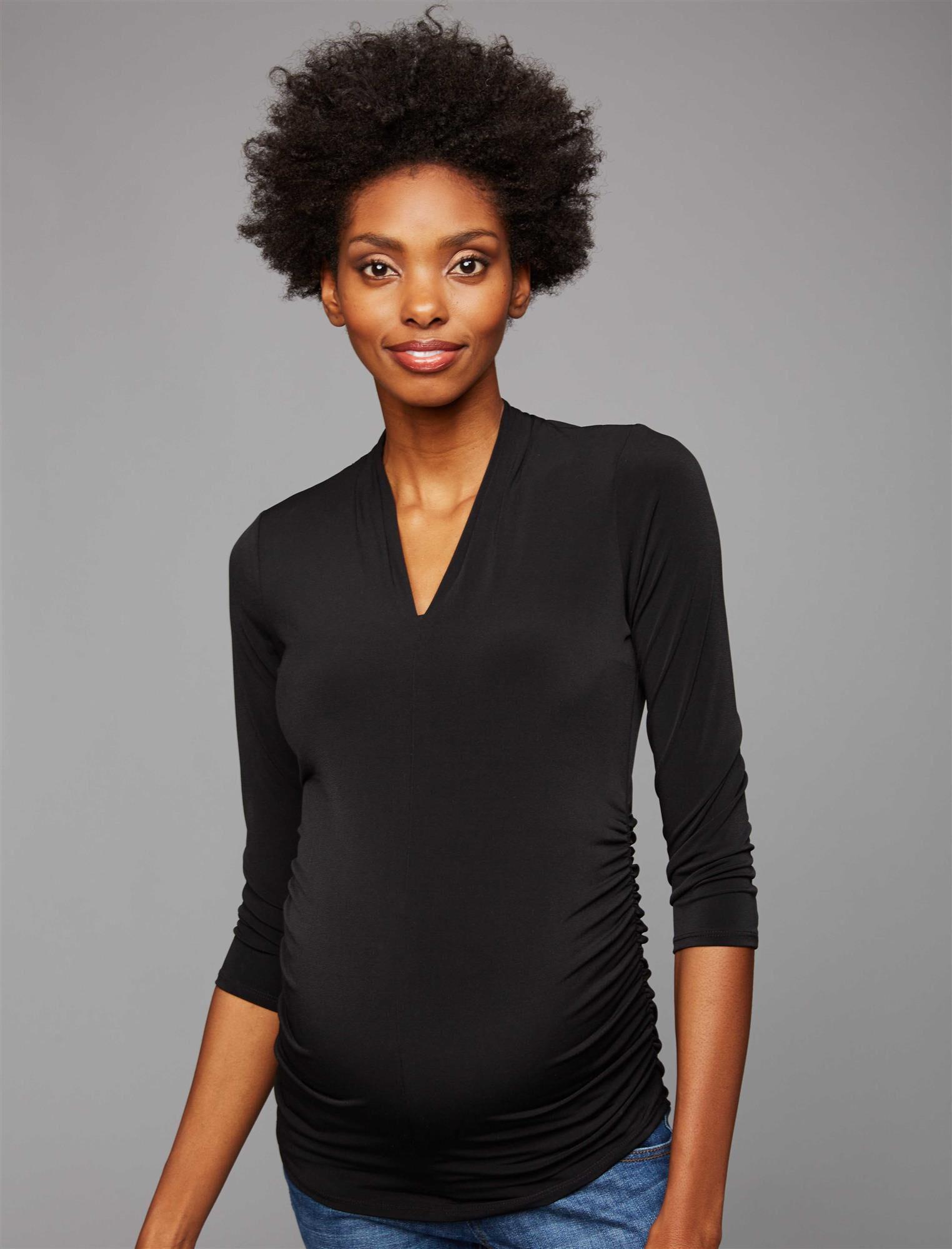 Side Pleat Maternity Top- Black