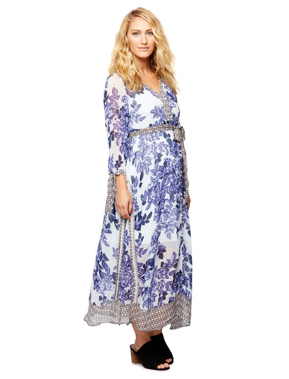 Pretty Floral Print Maternity Dress, Blue Flrl Prnt
