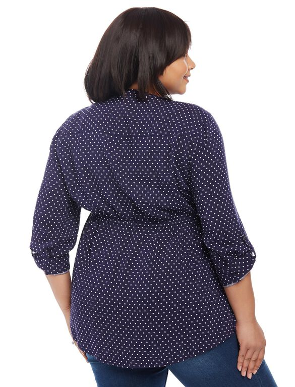 Plus Size Convertible Sleeve Maternity Tunic- Dot Print, Navy/Egret Dot Print