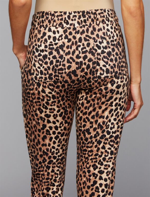 Under Belly French Terry Maternity Jogger Pants- Leopard, Leopard Print