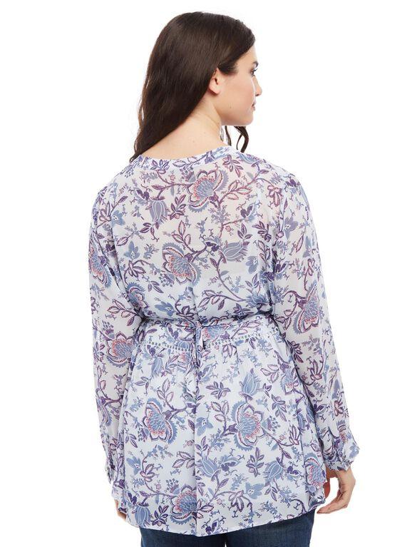 Plus Size Decorative Trim Maternity Blouse, Blue Floral