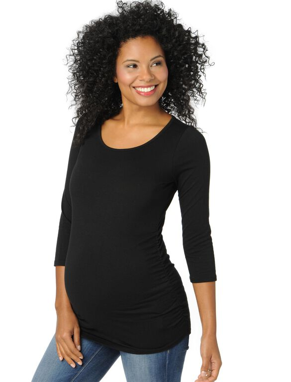 Scoop Neck Side Ruched Maternity Top, Black