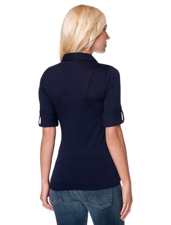 Button Front Maternity Blouse, Navy