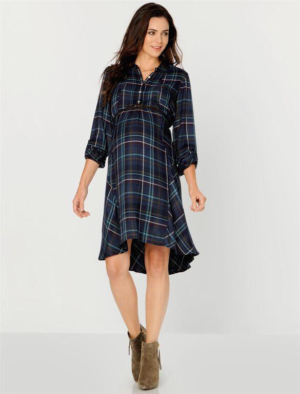 Tie Detail Maternity Shirt Dress, Multi Plaid