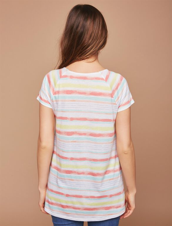 Pull Down Raglan Sleeve Nursing Tee, Multi Watercolor Stripe