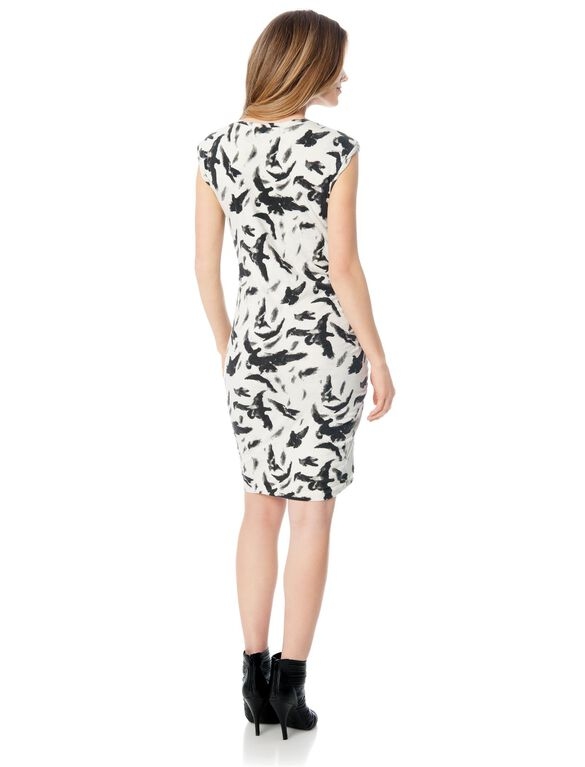 Ruched Maternity Dress, Black/White