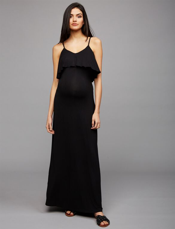 Tart Tiered Maternity Maxi Dress- Black, Black
