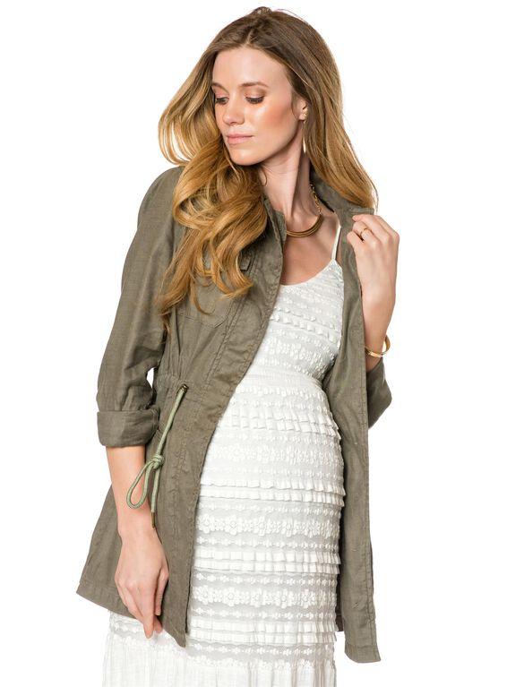 Cargo Pockets Linen Blend Maternity Jacket, Olive