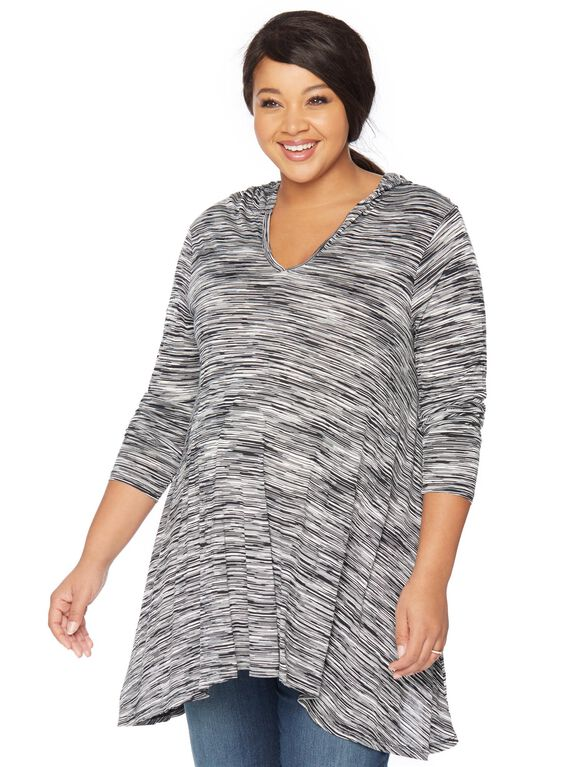 Plus Size Hooded Maternity T Shirt, Charcoal