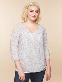 Jessica Simpson Plus Size Pull Over Nursing Shirt, HEATHER GREY