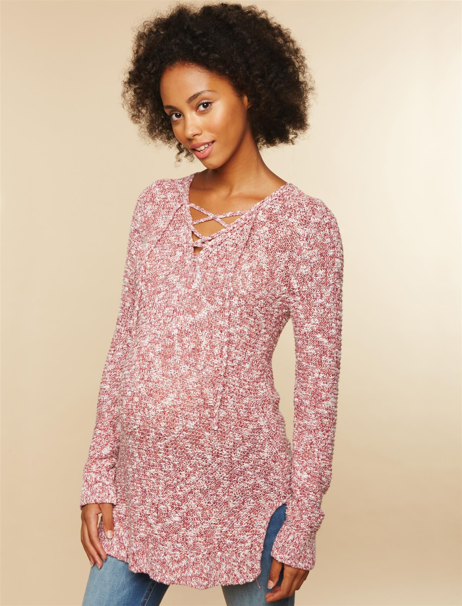 Lace Up Marl Maternity Sweater