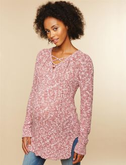 Lace Up Marl Maternity Sweater, Pink Marl