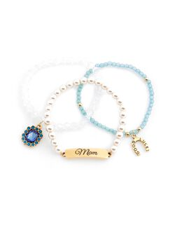 Charm And Bead Bracelets, Blue