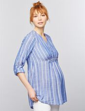 Luxe Essentials Denim Convertible Sleeve Maternity Tunic, Blue Stripe