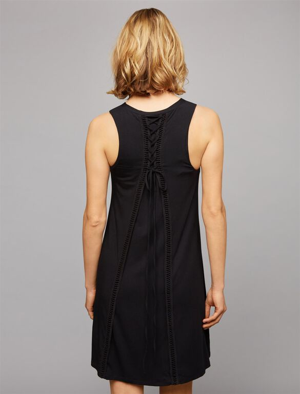 Tart Lace Up Back Maternity Dress, Black