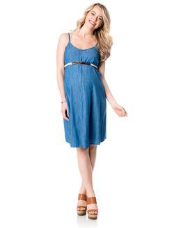 Belted Denim Short Maternity Dress, Chambray