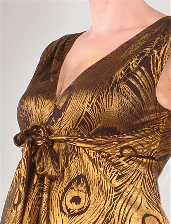 Empire Waist Maternity Top, Gold/Black
