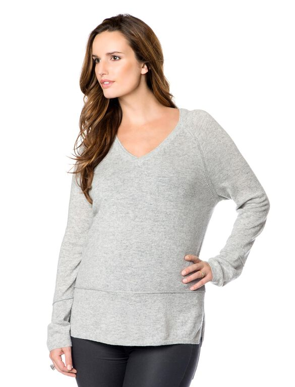 Vince Maternity Cashmere Sweater, Heather Steel