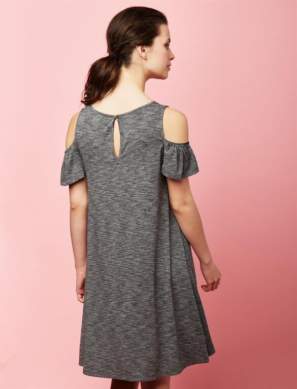 Cold Shoulder Maternity Dress, Grey
