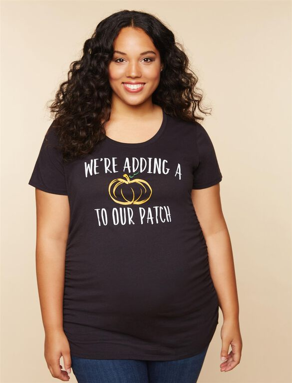Plus Size Pumpkin Patch Maternity Tee, Black