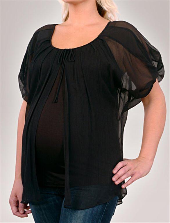 Open Front Maternity Blouse, Black