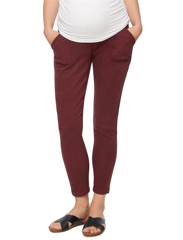 Secret Fit Belly Twill Ankle Maternity Pants, Red