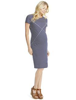 Jessica Simpson Short Sleeve Striped Maternity Dress, Navy And White