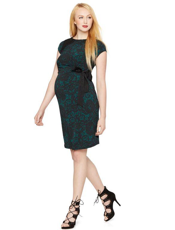 Side Tie Maternity Dress, Green Lace Print