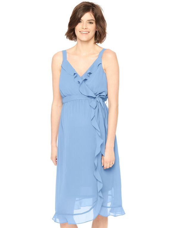 Ruffle Front Tie Detail Maternity Dress- Dutch Blue, Dutch Blue