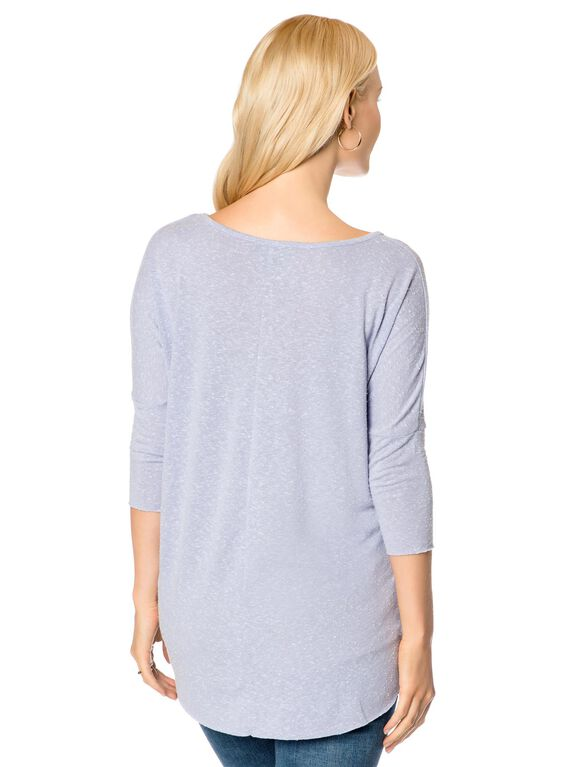 Elbow Sleeve V-neck Dolman Sleeve Maternity T-shirt, Lilac