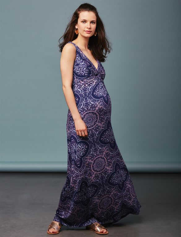 Twist Front Maternity Maxi Dress- Navy Paisley, Navy Paisley