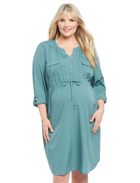 Plus Size Maternity Shirt Dress, Sea Pine Teal