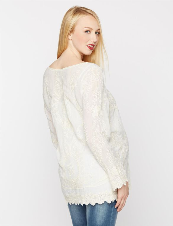 Embroidery Maternity Tunic, White