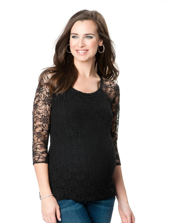 Bailey 44 Lace Maternity Shirt, Black