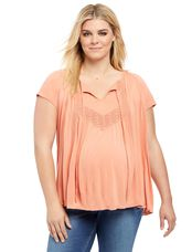 Plus Size Lace Trim Maternity Blouse, Tawny Orange