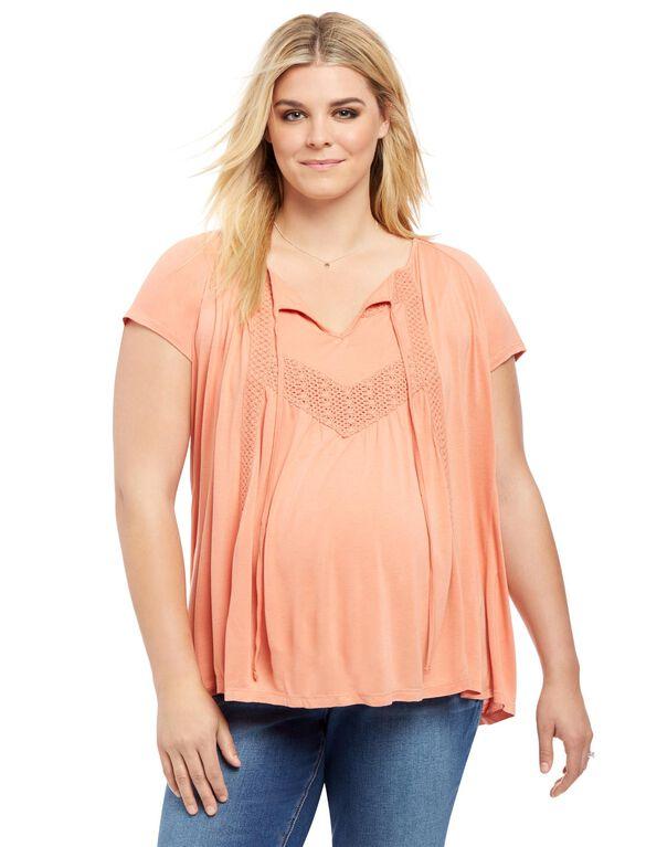 Plus Size Lace Trim Maternity Blouse, Tawny Orange