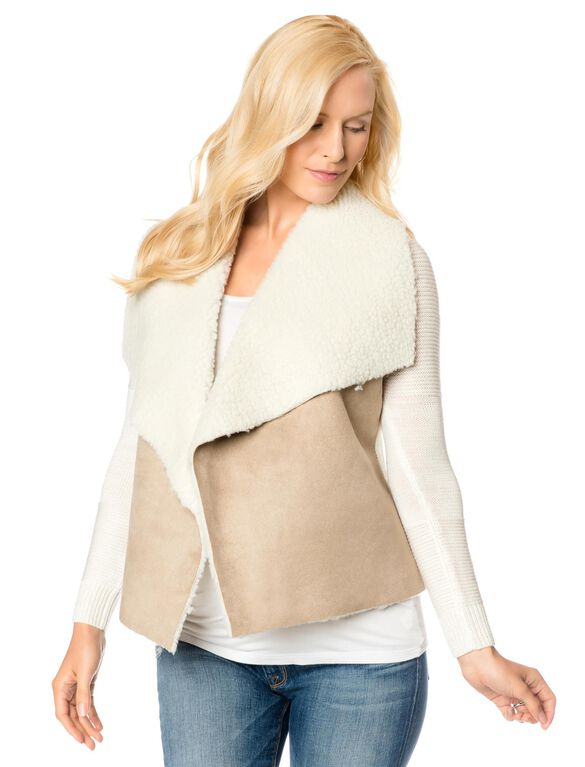 Design History Sherpa Combo Fleece Maternity Jacket, Natural