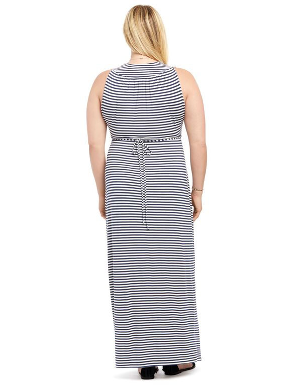 Plus Size Surplice Maternity Maxi Dress- Stripe, Striped