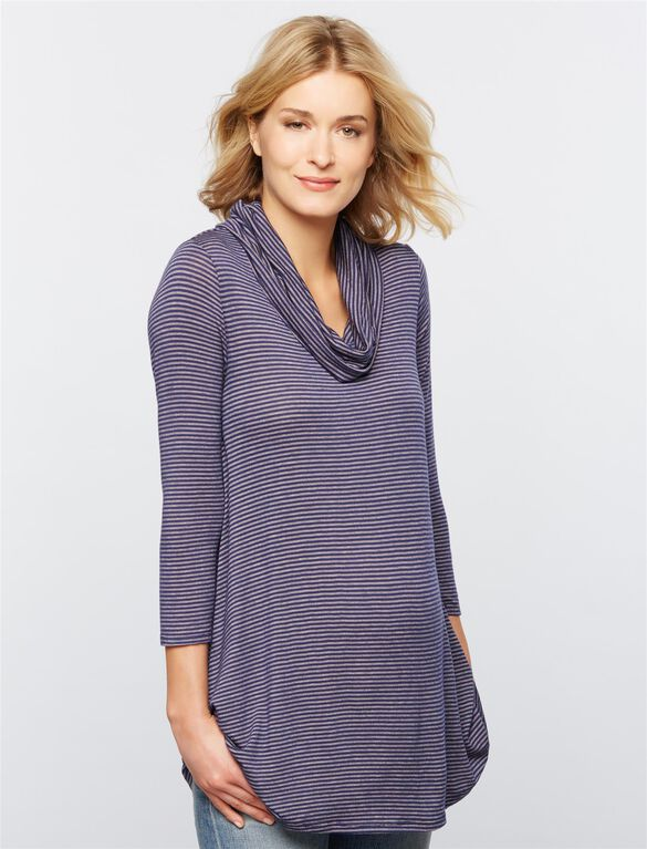 Luxe Essentials Striped Cowl Maternity Shirt, Pink/Navy Stripe