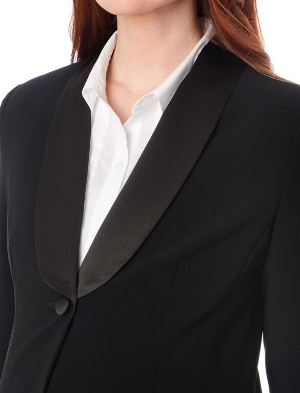1 Button Closure Crepe Maternity Jacket, Black