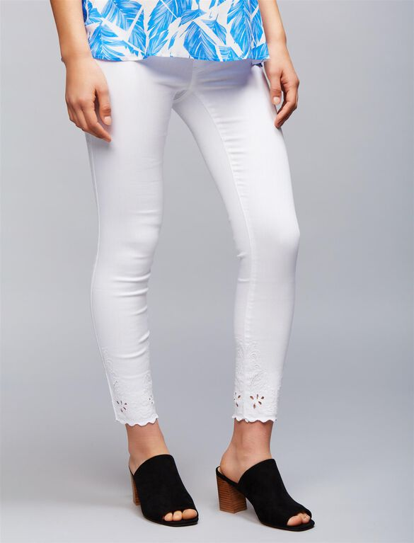 Luxe Essentials Denim Secret Fit Belly Embroidered Hem Maternity Jeans, White