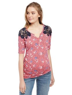 Crochet Shoulder Henley Neck Maternity Knit Top- Floral, Floral Dot