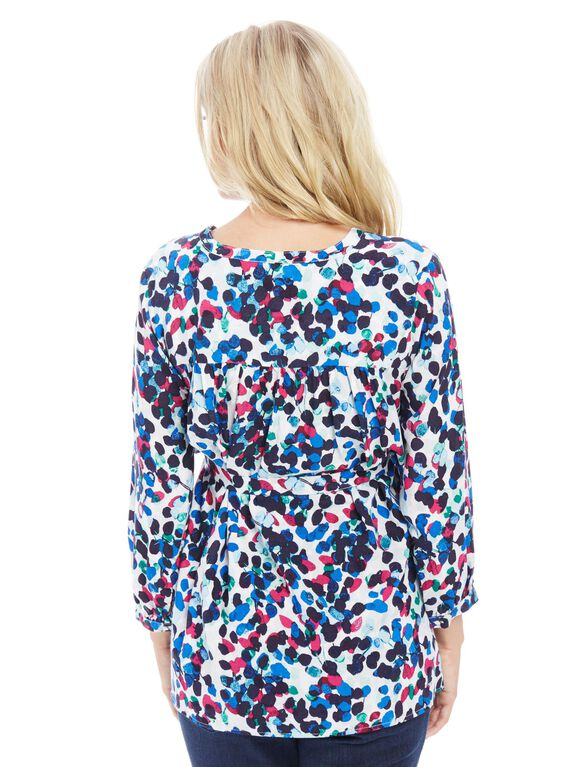 Button Detail Maternity Blouse, Multi Color Print