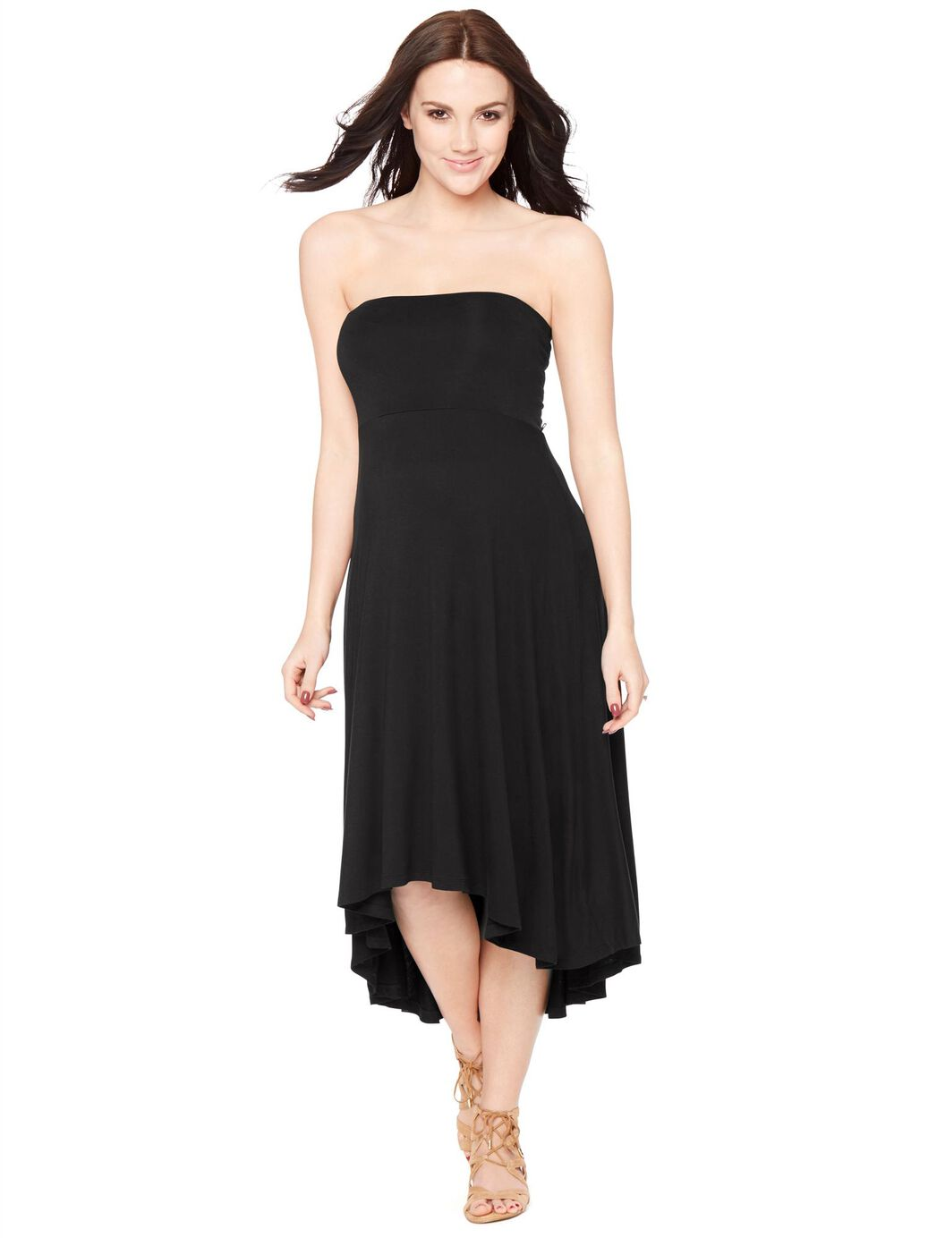strapless highlow hem maternity dress black motherhood
