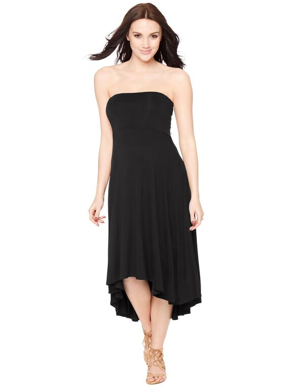 Strapless High-low Hem Maternity Dress- Black, Black
